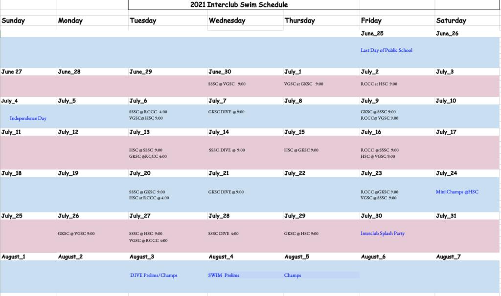 SI interclub Calendar